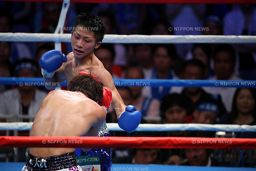 Naoya Inoue, <br /> AUGUST 25, 2013 - Boxing : Naoya Inoue hits against Ryoichi Taguchi during the performed a match of the boxing 50kg weight division at Sky Arena Zama, in Kanagawa, Japan. (Photo by Jun Tsukida/AFLO SPORT)