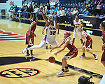 Ole Miss' Tia Faleru (32) vs. Arkansas' Kelsey Hatcher (3) in a women's college basketball game in Oxford, Miss. on Thursday, January 31, 2013. Arkansas won 77-66.