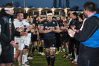 Francois Louw of Bath Rugby leads his team off the field after the match. European Rugby Challenge Cup match, between Bath Rugby and Pau (Section Paloise) on January 21, 2017 at the Recreation Ground in Bath, England. Photo by: Patrick Khachfe / Onside Images