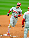 13 April 2009: Philadelphia Phillies' outfielder Raul Ibanez rounds third base after hitting a solo home run in the 7th inning of the Washington Nationals' Home Opener at Nationals Park in Washington, DC. The Nats fell short in their 9th inning rally, losing 9-8, as the visiting Phillies handed the Nats their 7th consecutive loss of the 2009 season. Mandatory Credit: Ed Wolfstein Photo