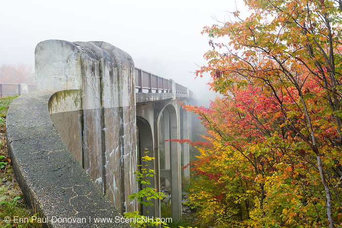 Franconia Notch State Park - The old U.S. Route 3 bridge over Lafayette Brook is closed to traffic and is part of the multi-use trail Franconia Notch Bike Path in the White Mountains, New Hampshire USA.