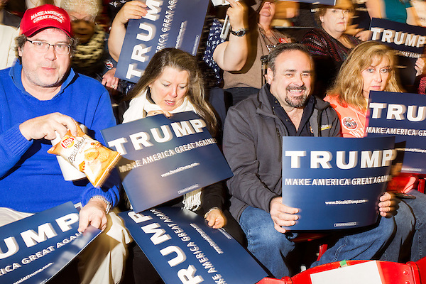 December 4, 2015. Raleigh, NC.<br />  Republican Presidential candidate Donald Trump spoke to a crowd of thousands at Dorton Arena on the NC State Fairgrounds Friday night. Touting his tough stance upon immigration, Trump also touched on the war in Syria and the American educational system.