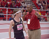 NWA Democrat-Gazette/BEN GOFF @NWABENGOFF<br /> Alex George, running unattached, argues with an official after dropping out of the 1 mile run invitational Friday, Feb. 10, 2017 during the Tyson Invitational at the Randal Tyson Track Complex in Fayetteville.