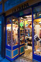 Windows of vintage toy shop La Varpa In Girona, Spain