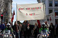 Counter demonstration against NDL. Norwegian Defence League held their first rally in Oslo on April 9, 2011. Only a handuful of people turned up, and NDL were outnumbered by media representatives.