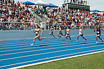 Columbia senior Alex Van Haler has a big lead (L to R: Marlee Echohawk, Rhianna Birch, Keanne Alston, Michaela Piechowski, Madelyn Minnaert, and Jasmine Brancch) on her way to winning the  100 meter title during the 4A Idaho Track and Field Championships on May 19, 2012 at Middleton High School, Middleton, Idaho. Van Halder's winning time was 12.39 and she was followed by defending state champion Rhianna Birch (12.94) and Minnaert (12.96).