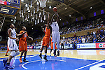 18 January 2015: Duke's Elizabeth Williams (1) shoots over Miami's Jassany Williams (21). The Duke University Blue Devils hosted the University of Miami Hurricanes at Cameron Indoor Stadium in Durham, North Carolina in a 2014-15 NCAA Division I Women's Basketball game. Duke won the game 68-53.