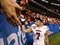 Louisville wide receiver Damian Copeland celebrates with the fans after winning 79th Sugar Bowl game against Florida at Mercedes-Benz Superdome in New Orleans, Louisiana on January 2nd, 2013.   Louisville Cardinals defeated Florida Gators, 33-23.