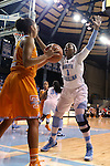 11 November 2013: North Carolina's Stephanie Mavunga (1) guards an inbounds attempt by Tennessee's Cierra Burdick (11). The University of North Carolina Tar Heels played the University of Tennessee Lady Vols in an NCAA Division I women's basketball game at Carmichael Arena in Chapel Hill, North Carolina. Tennessee won the game 81-65.