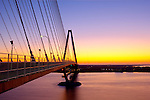 Arthur Ravenel Jr Bridge Sunrise Charleston South Carolina over the cooper river