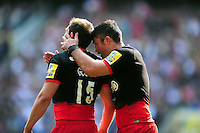 Brad Barritt of Saracens congratulates team-mate Alex Goode on his second half try. Aviva Premiership Final, between Saracens and Exeter Chiefs on May 28, 2016 at Twickenham Stadium in London, England. Photo by: Patrick Khachfe / JMP
