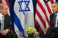 (L to R) Prime Minister of Israel Benjamin Netanyahu speaks to United States President Barack Obama during a bilateral meeting at the Lotte New York Palace Hotel, September 21, 2016 in New York City. Last week, Israel and the United States agreed to a $38 billion, 10-year aid package for Israel. Obama is expected to discuss the need for a &quot;two-state solution&quot; for the Israeli-Palestinian conflict. <br /> Credit: Drew Angerer / Pool via CNP /MediaPunch