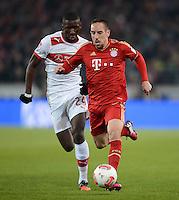 FUSSBALL   1. BUNDESLIGA  SAISON 2012/2013   19. Spieltag   VfB Stuttgart  - FC Bayern Muenchen      27.01.2013 Franck Ribery (re, FC Bayern Muenchen) gegen Antonio Ruediger (VfB Stuttgart)