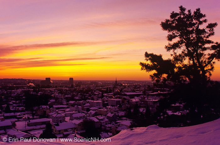 Manchester, New Hampshire USA at sunsrise from Rock Rimmon Park