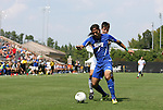 04 September 2011: SMU's Diogo de Almeida (BRA) and Duke's Daniel Tweed-Kent (behind). The Southern Methodist University Mustangs defeated the Duke University Blue Devils 1-0 in overtime at Koskinen Stadium in Durham, North Carolina in an NCAA Division I Men's Soccer game.