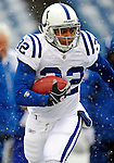 3 January 2010: Indianapolis Colts' running back Mike Hart warms up prior to facing the Buffalo Bills on a cold, snowy, final game of the season at Ralph Wilson Stadium in Orchard Park, New York. The Bills defeated the Colts 30-7. Mandatory Credit: Ed Wolfstein Photo