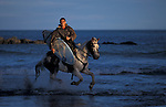 Maori surfer on horse, Whanagara, New Zealand