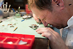 OXFORD,  CT-051617JS16- Watch maker William Werner, works on a watch in his Oxford location on Wednesday. Werner, who makes the Naugamatic watch, has also started a watch school for Disabled American Veterans. <br /> Jim Shannon Republican-American