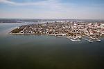 Historic Battery row downtown Charleston South Carolina Aerial Photograph