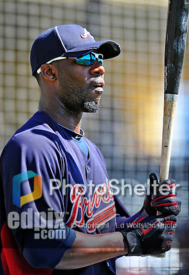 8 March 2011: Atlanta Braves outfielder Jason Heyward awaits his turn in the batting cage prior to a game against the New York Yankees at Champion Park in Orlando, Florida. The Yankees edged out the Braves 5-4 in Grapefruit League action. Mandatory Credit: Ed Wolfstein Photo