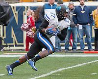 Duke kick returner DeVon Edwards. The Duke Blue Devils defeated the Pitt Panthers 51-48 at Heinz Field, Pittsburgh Pennsylvania on November 1, 2014.