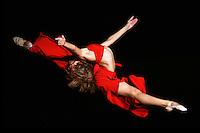 Karolina Raskina of Germany split leaps during gala exhibition at 2006 Portimao World Cup of Rhythmic Gymnastics on September 10, 2006.  (Photo by Tom Theobald)
