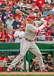 11 September 2016: Philadelphia Phillies outfielder Cody Asche pinch hits against the Washington Nationals at Nationals Park in Washington, DC. The Nationals edged out the Phillies 3-2 to take the rubber match of their 3-game series. Mandatory Credit: Ed Wolfstein Photo *** RAW (NEF) Image File Available ***