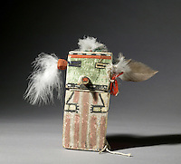 Hopi figure, Si'okatsina'putsqatihu, made c. 1885 from wood, paint and feather, bought through the Native Arts Acquisition Fund, in the Denver Art Museum, Denver, Colorado, USA. Hopi katsina figures or kachina dolls are figures carved, typically from cottonwood root, by Hopi people to teach girls about katsinas or katsinam, the immortal beings that bring rain and act as messengers between humans and the spirits. The Hopi tribe live in North East Arizona and have been making these katsina figures since the 19th century. Picture by Manuel Cohen