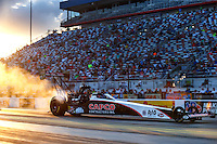 Sep 16, 2016; Concord, NC, USA; NHRA top fuel driver Steve Torrence during qualifying for the Carolina Nationals at zMax Dragway. Mandatory Credit: Mark J. Rebilas-USA TODAY Sports