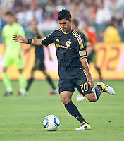CARSON, CA – July 4, 2011: LA Galaxy defender A.J. DeLaGarza (20) during the match between LA Galaxy and Seattle Sounders FC at the Home Depot Center in Carson, California. Final score LA Galaxy 0, Seattle Sounders FC 0.