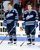 Rob Bellamy (Maine - 16), Keif Orsini (Maine - 18) - The Boston University Terriers defeated the University of Maine Black Bears 1-0 (OT) on Saturday, February 16, 2008 at Agganis Arena in Boston, Massachusetts.