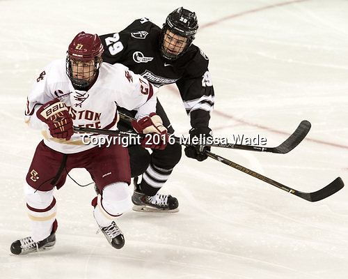 Graham McPhee (BC - 27), Conor MacPhee (PC - 29) - The Boston College Eagles defeated the visiting Providence College Friars 3-1 on Friday, October 28, 2016, at Kelley Rink in Conte Forum in Chestnut Hill, Massachusetts.The Boston College Eagles defeated the visiting Providence College Friars 3-1 on Friday, October 28, 2016, at Kelley Rink in Conte Forum in Chestnut Hill, Massachusetts.