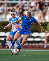 Boston Breakers midfielder Leslie Osborne (12) and Chicago Red Stars forward Ella Masar (3) battle for the ball.  The Boston Breakers beat the Chicago Red Stars 1-0 at Dilboy Stadium.