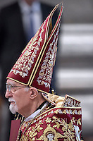 patriarch Nerses Bedros XIX Tarmouni,Pope Francis in the Sunday's Mass in the Armenian Catholic rite at Peter's Basilica  at the Vatican, on April 12, 2015.