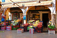 Fruit shop in Corfu Old Town, Greek Ionian Islands
