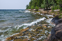 A beautiful summer day along the rock Lake Superior shoreline. AuTrain, MI