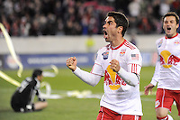Juan Pablo Angel (9) of the New York Red Bulls celebrates scoring his second goal of the game off a penalty kick in second half stoppage time. The New York Red Bulls defeated FC Dallas 2-1 during a Major League Soccer (MLS) match at Red Bull Arena in Harrison, NJ, on April 17, 2010.