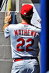 12 March 2012: St. Louis Cardinals Manager Mike Matheny makes changes to he lineup card during a Spring Training game against the Washington Nationals at Space Coast Stadium in Viera, Florida. The Nationals defeated the Cardinals 8-4 in Grapefruit League play. Mandatory Credit: Ed Wolfstein Photo
