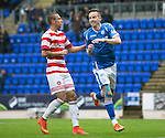 St Johnstone v Hamilton Accies...12.09.15  SPFL McDiarmid Park, Perth<br /> Steven MacLean celebrates his penalty<br /> Picture by Graeme Hart.<br /> Copyright Perthshire Picture Agency<br /> Tel: 01738 623350  Mobile: 07990 594431