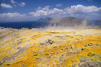 Vulcano, Eolian Islands, Italy, June 2006. Acrid sulphoric gas flows out of the 'fumarole' in the walls of the Gran Cratere. The Volcanic Eolian Islands of Southern Italy offer a spectacular landscape for trekking while staying in picturesque towns. Photo by Frits Meyst/Adventure4ever.com