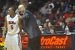 Ole Miss head coach Andy Kennedy talks to Ole Miss guard Dundrecous Nelson (5)  at the C.M. &quot;Tad&quot; Smith Coliseum in Oxford, Miss. on Saturday, January 15, 2011. Georgia won 98-76.  (AP Photo/Oxford Eagle, Bruce Newman)