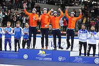 SHORT TRACK: TORINO: 15-01-2017, Palavela, ISU European Short Track Speed Skating Championships, Relay Men, Gold medal, Team Netherlands, Daan Breeuwsma, Dylan Hoogerwerf, Sjinkie Knegt, Itzhak de Laat, ©photo Martin de Jong