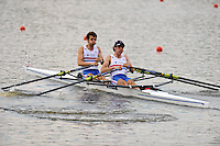 Brest, Belarus.  GBR LM2X, Bow Benjamin ROWE and Kieran EMERY , at the  the start.  2010. FISA U23 Championships. Thursday,  22/07/2010.  [Mandatory Credit Peter Spurrier/ Intersport Images]