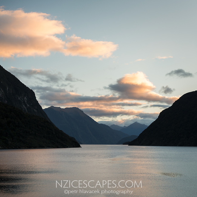 Sunrise over First Arm in Doubtful Sound, Fiordland National Park, UNESCO World Heritage Area, Southland, New Zealand, NZ