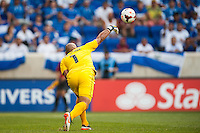El Salvador goalkeeper Dagoberto Portillo (1) during a CONCACAF Gold Cup group B match at Red Bull Arena in Harrison, NJ, on July 8, 2013.