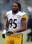 Pittsburgh Steelers linebacker Jarvis Jones (95) warms up before their game against the Seattle Seahawks at CenturyLink Field in Seattle, Washington on November 29, 2015.  The Seahawks beat the Steelers 39-30.      ©2015. Jim Bryant Photo. All Rights Reserved.