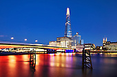Blue hour at London Bridge with the Shard in the background. Height: 310 metres (1,017 feet)310 metres (1,017 feet).<br />