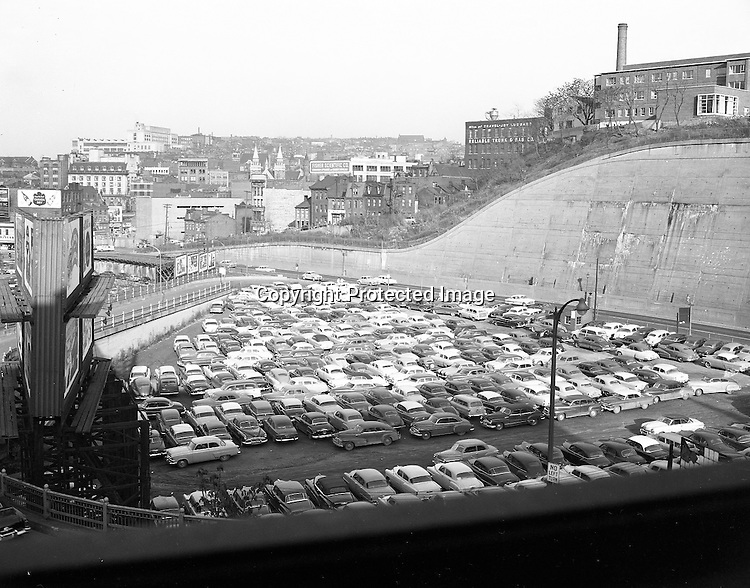 Pittsburgh PA:  View of Duquesne University, future crosstown parkway, lower hill district and parking from a building rooftop off Blvd of the Allies.