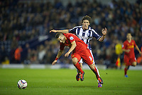 WEST BROMWICH, ENGLAND - Wednesday, September 26, 2012: Liverpool's Samed Yesil in action against West Bromwich Albion's Billy Jones during the Football League Cup 3rd Round match at the Hawthorns. (Pic by David Rawcliffe/Propaganda)