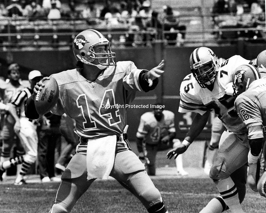 Oakland Invader quarterback Fred Besana throwing against the Los Angeles Express. 1983 game in Oakland, Ca (photo/ Ron Riesterer/photoshelter)